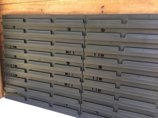"""This wall-mounted Plastic Pegboard can be mounted directly on a wall or plywood. It's intended for holding hanging Bolt Bins up to 8"""" of length, Hooks or Hand Tool Holders."""