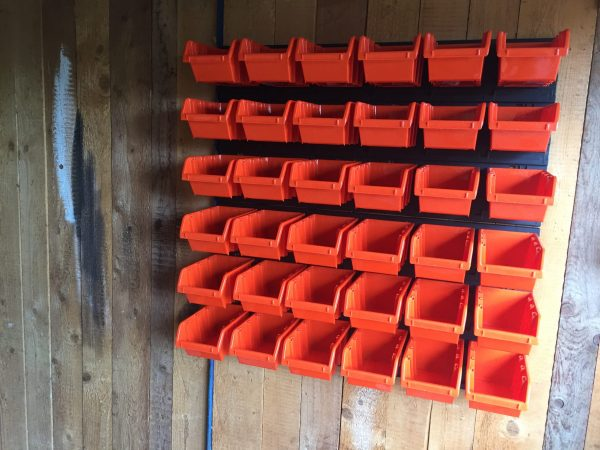 36 Plastic Bolt Storage Bins for organizing parts, hand tool, screws and other small items in your garage.