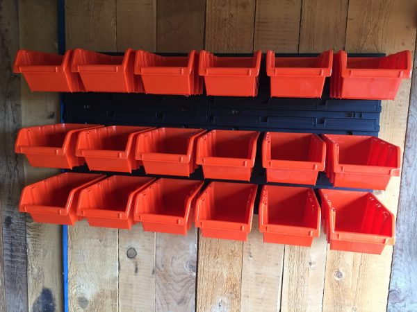 Office Wall Organizer M18 with its 18 large parts containers Stacking bins is a great store idea for your both office and garage tool. Easy installation!