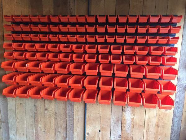 """XXL118 Garage Bin Organizer with its 60"""" x 31"""" overall dimensions includes 118 plastic storage containers in various sizes. It is the best value for organizing your bolts, nuts and other tools in the garage, workshop or workspace."""