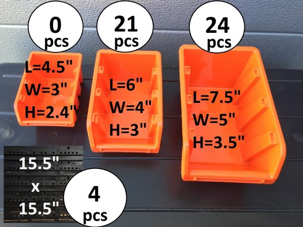 """45 Screw Storage Containers in two sizes and a plastic pegboard with 31 x 31"""" of overall dimensions. Easy installation."""