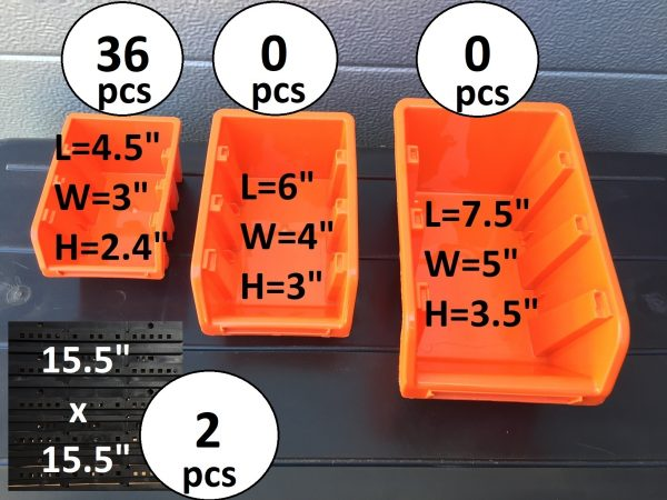 Pegboard Plastic Bins M36 are the best value for organizing your bolts, nails, small parts and tools in your garage or workspace.