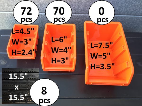 142 Wall mounted Hardware Storage Bins in two different sizes will help you with organizing screws, small parts or toys.