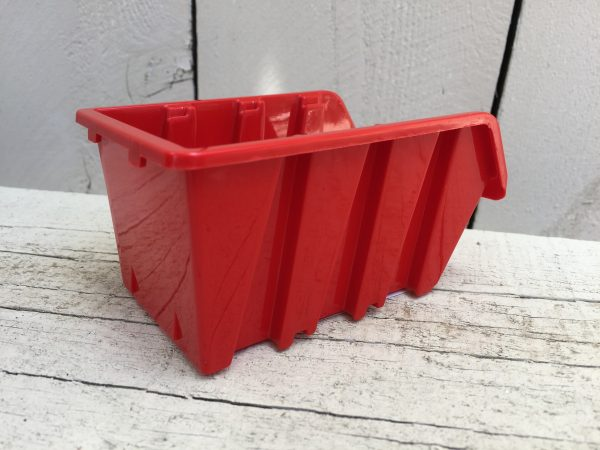 """The smallest bolt bins we offer will fit on our <a href=""""https://www.smallpartsorganizer.com/pegboard-accessories/plastic-pegboard/"""" target=""""_blank"""" rel=""""noopener noreferrer"""">plastic pegboard</a> perfectly. They are 4.5"""" long, 3"""" wide and 2.4"""" high."""