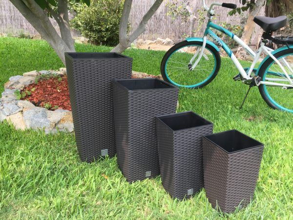 Rattan-Style Tall Square Planters