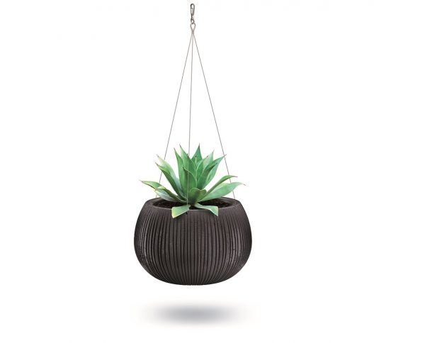 Faux Concrete Hanging Planter will fascinate your surroundings at first sight. Slim deep lines on its surface and its bowl shape will attract everyone's gaze.