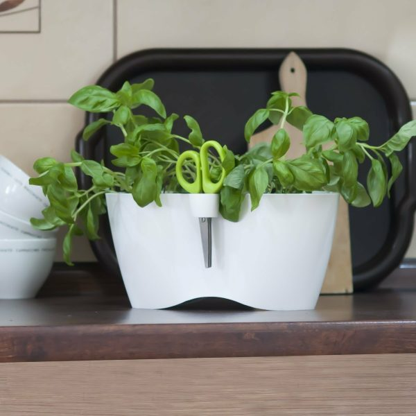 Do you love fresh herbs, cooking and eating? Now you can have your small herb garden in very modern herb planter directly on your counter or windowsill in your kitchen. Ideal small herb garden for your small apartment or studio. Timeless design and practicality consists of two symmetrical herbal pots with an opening for placing professionally designed scissors for cutting herbs. The scissors are included in a set and always have their own place, so you never have to look for them again.